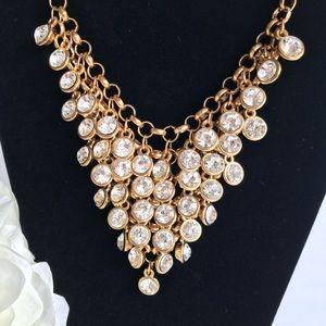 Gold Tone Rhinestone Waterfall Bib Necklace